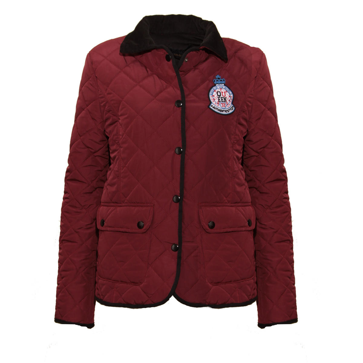 Wine Quilted Jacket With Corduroy Detail Preview