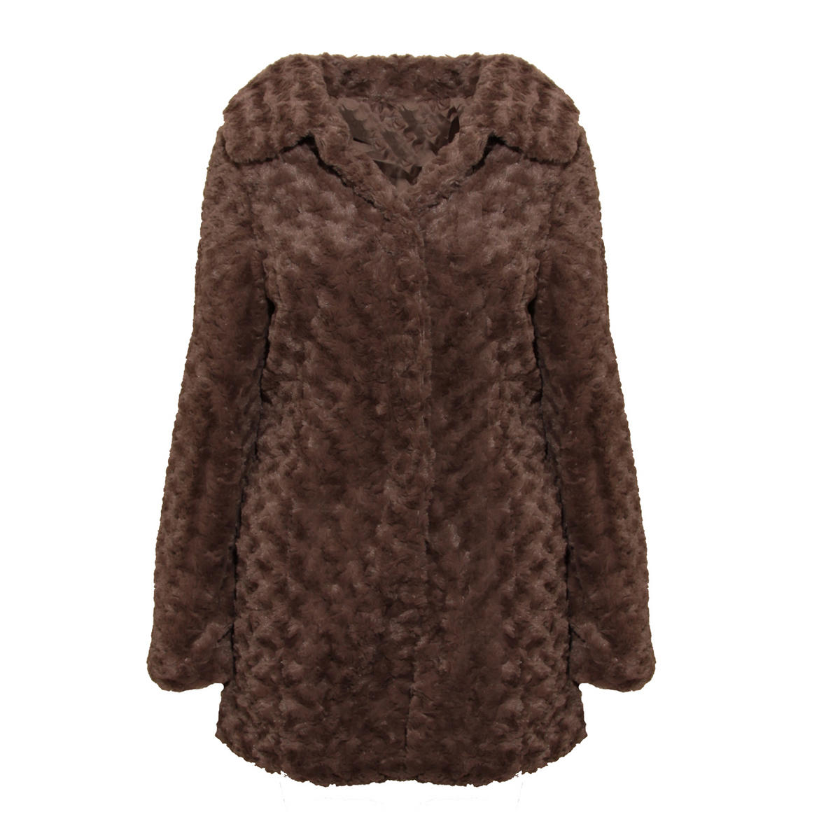 Mocha Faux Fur Button Up Coat Preview