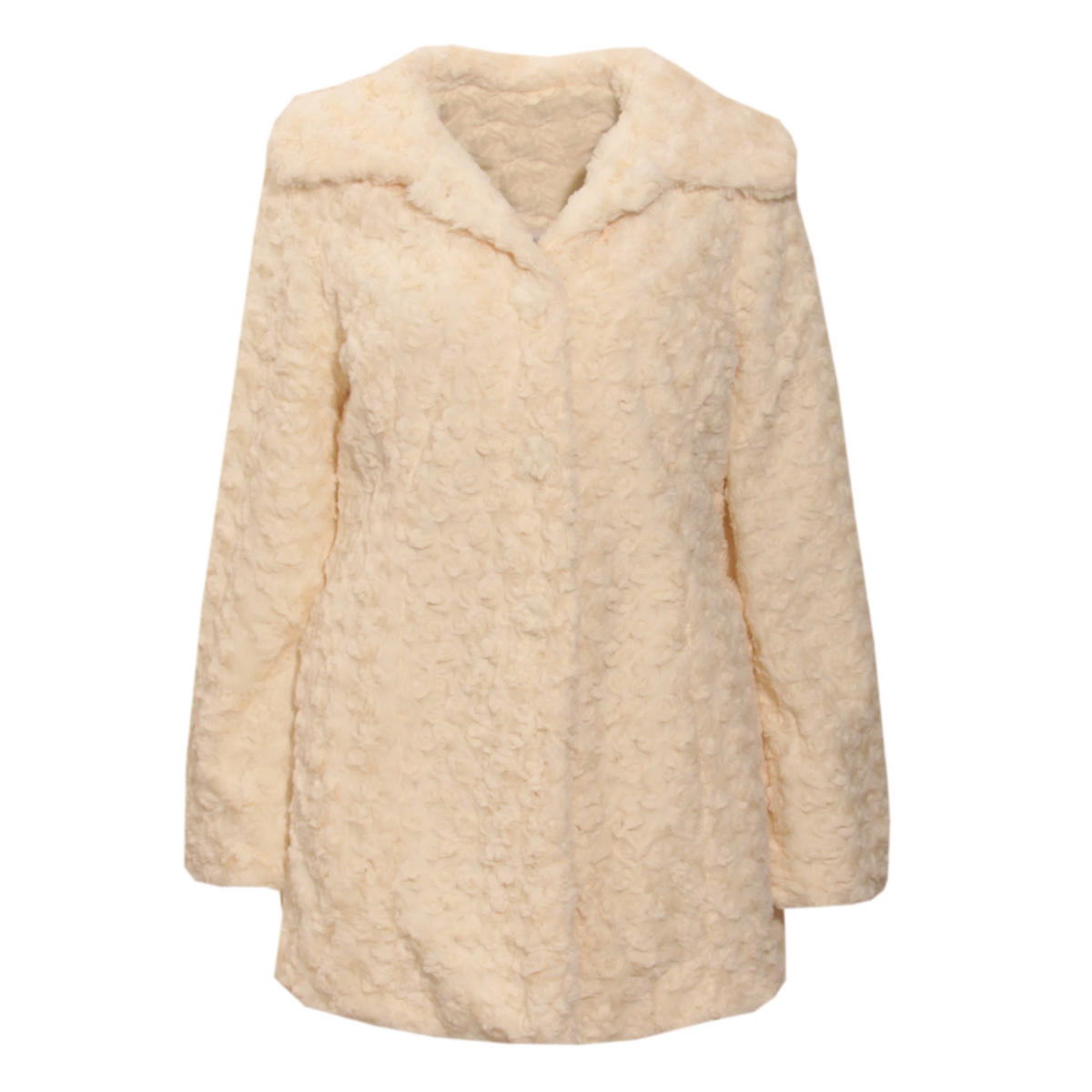 Cream Faux Fur Button Up Coat Preview