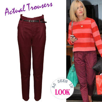View Item Belted Chino Trousers In Wine