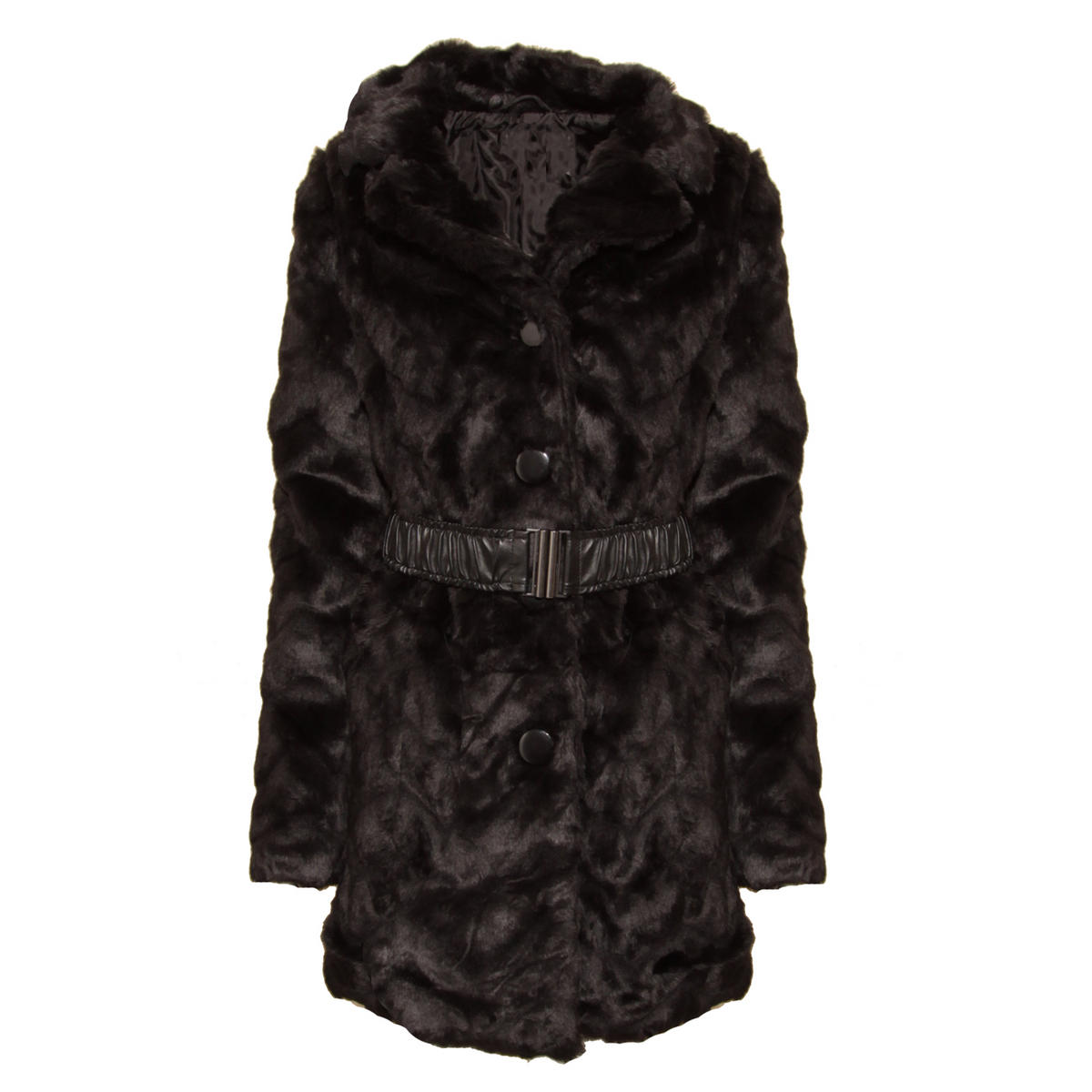 Black Faux Fur Belted Long Coat Preview