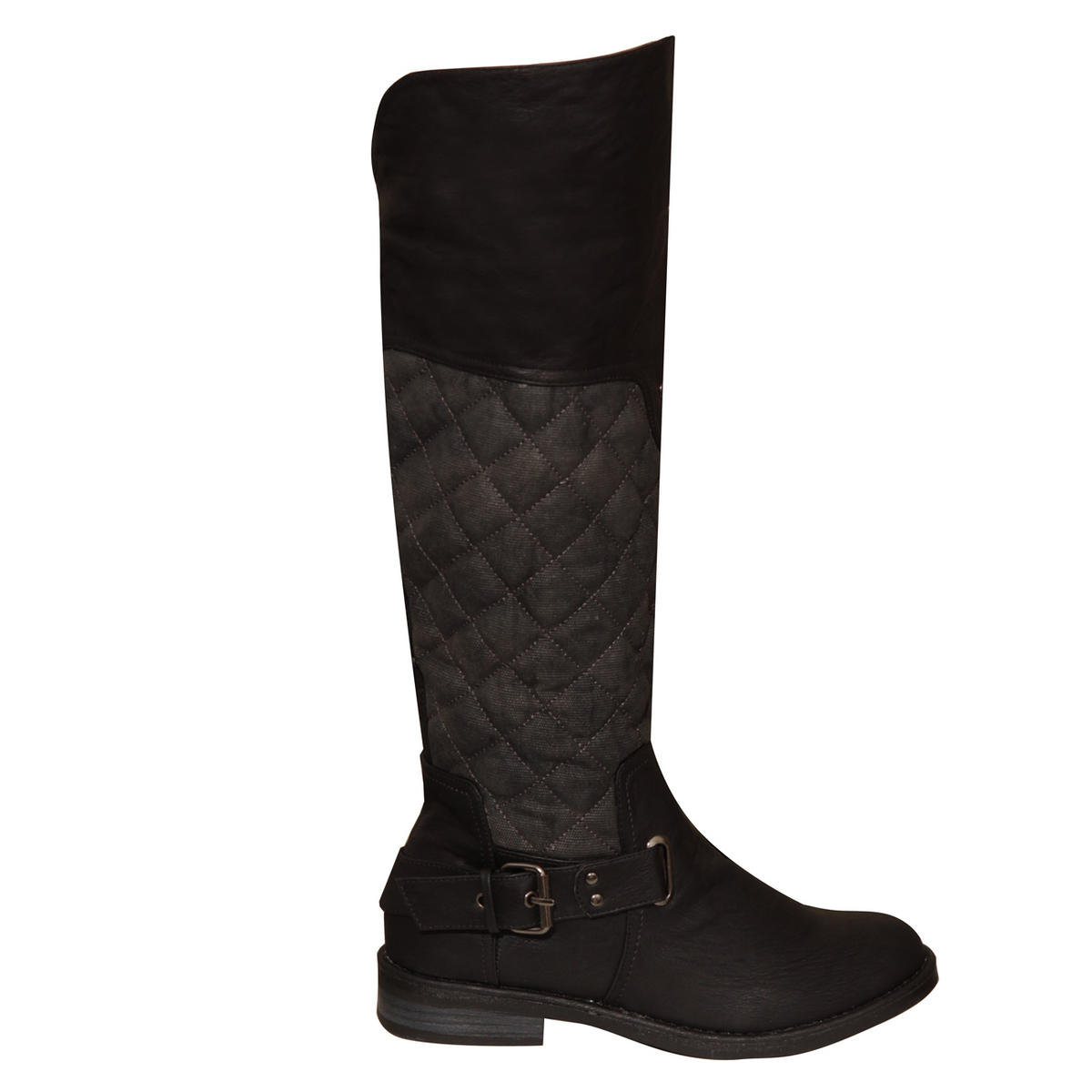 Black Quilted Knee High Biker Boot Preview