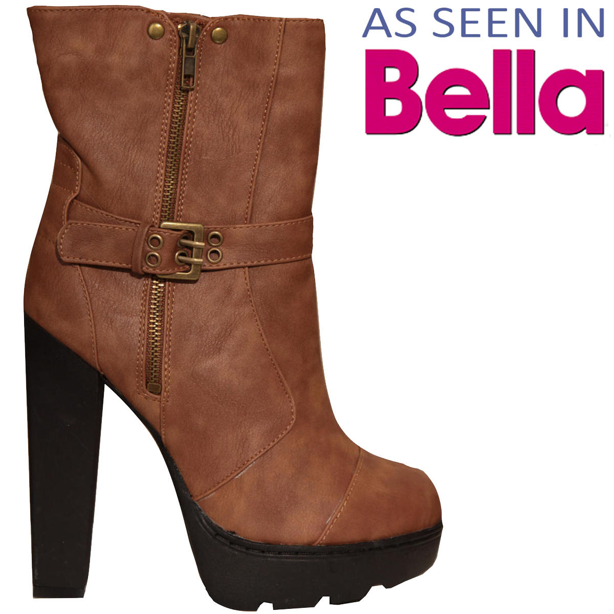Tan Buckle Heeled Ankle Boot Preview
