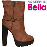 Tan Buckle Heeled Ankle Boot