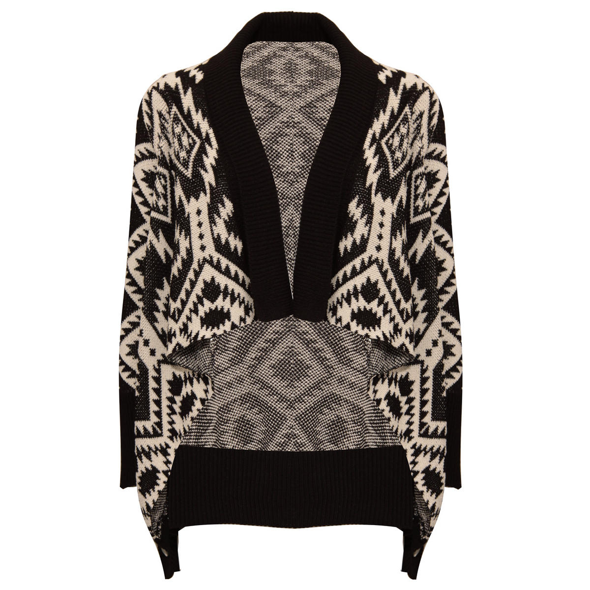 Monochrome Aztec Knit Cardigan Preview