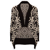 Monochrome Aztec Knit Cardigan