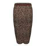 Leopard Print Belted Midi Pencil Skirt