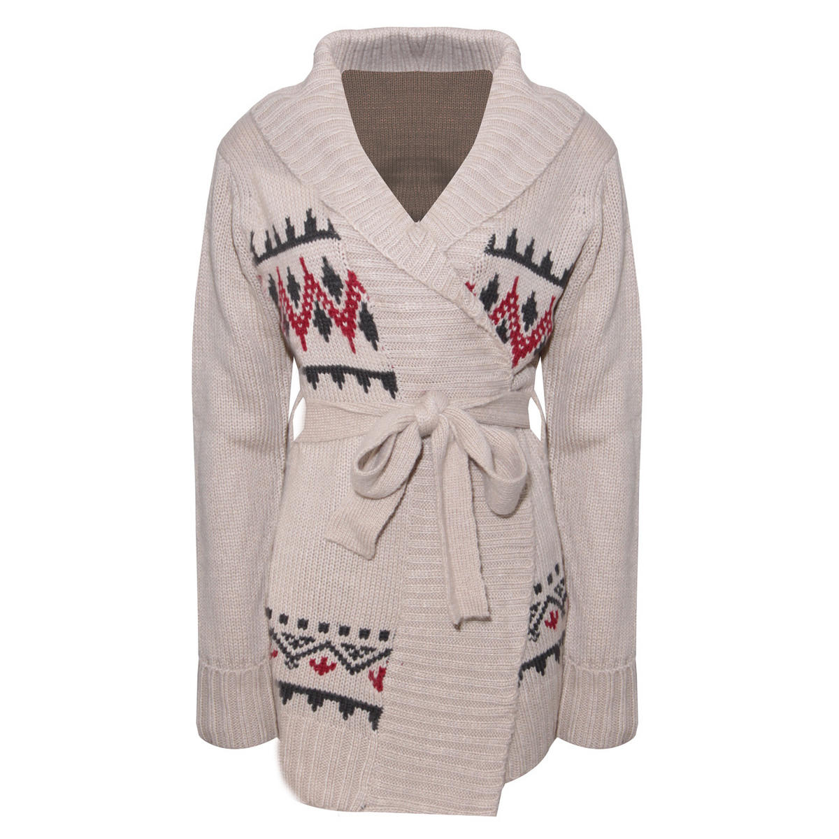 Cream Alpine Print Chunky Knit Belted Cardigan Preview