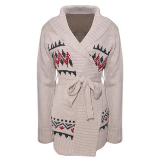 View Item Cream Alpine Print Chunky Knit Belted Cardigan