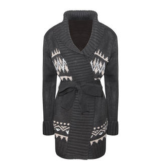 View Item Black Alpine Print Chunky Knit Belted Cardigan