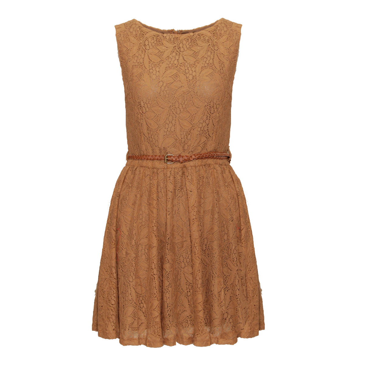 SIZE 14 ONLY Mocha Tailored Lace Pleat Dress Preview