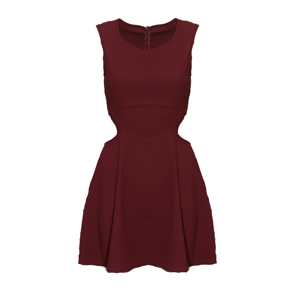 Cut Out Pleat Dress In Wine Preview