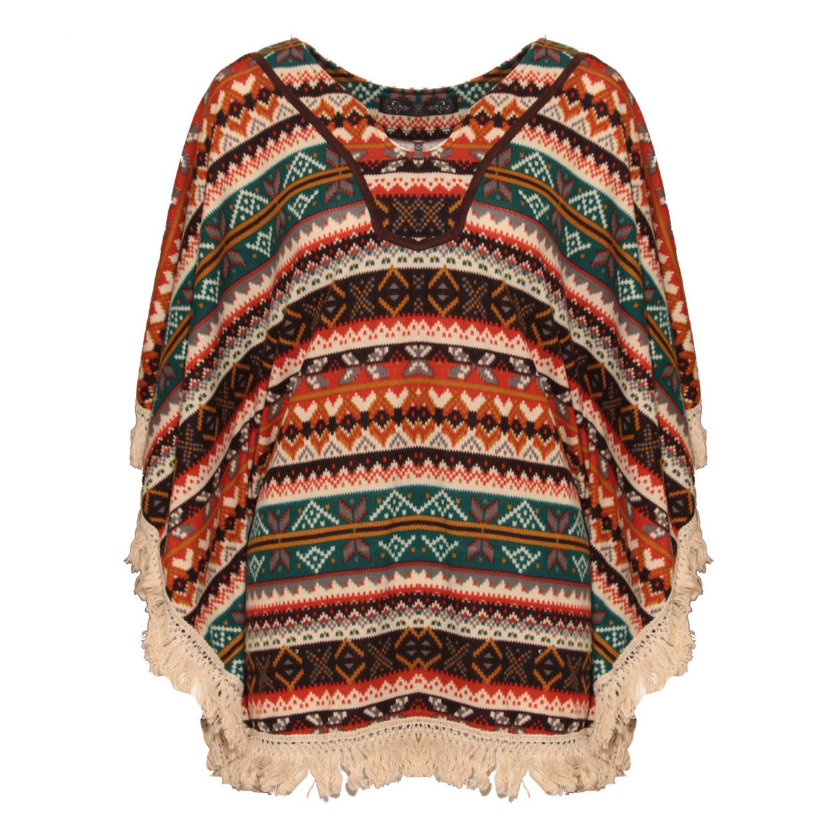 Aztec Print Tassel Poncho In Rust Preview