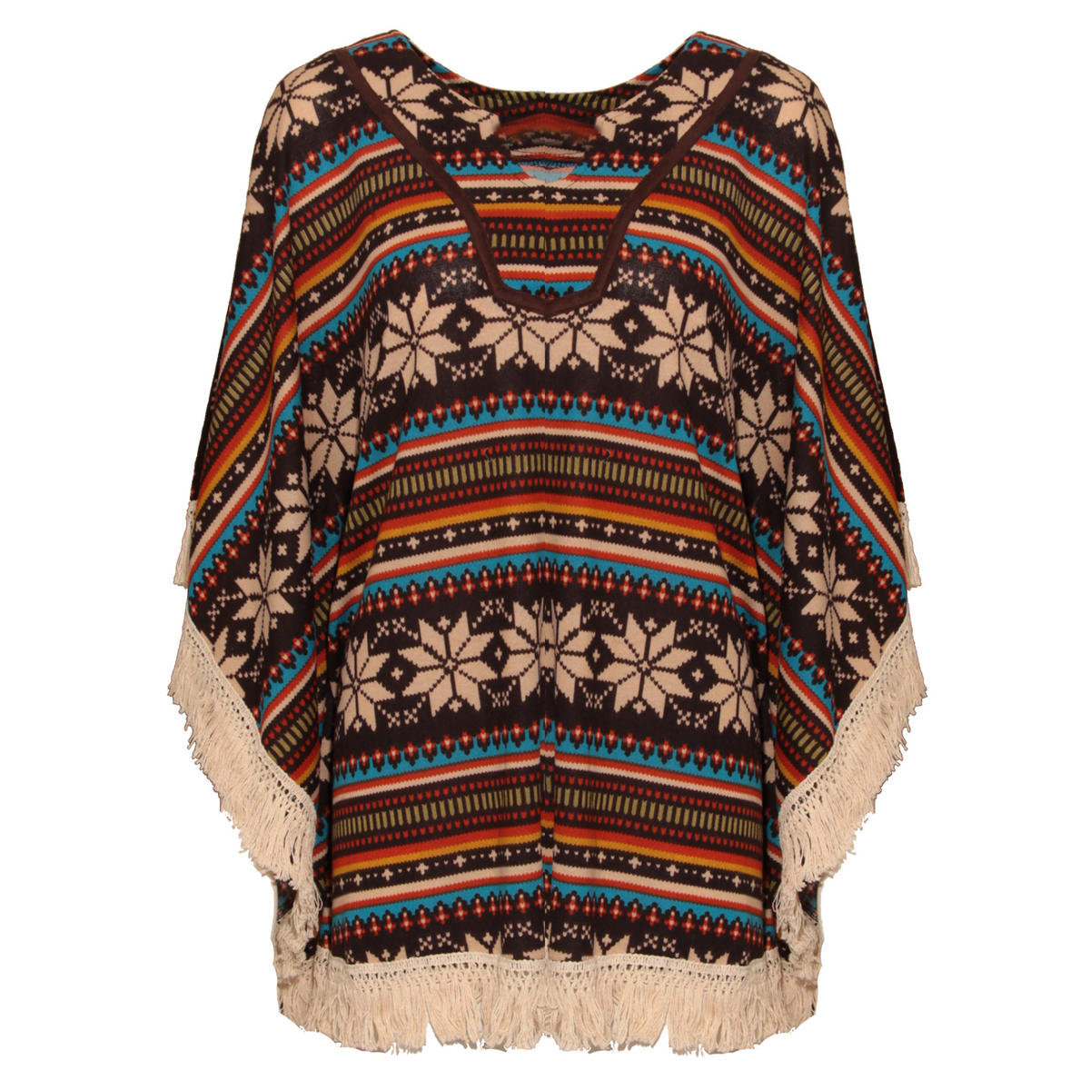 Aztec Print Tassel Poncho In Brown Preview
