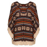 Aztec Print Tassel Poncho In Brown