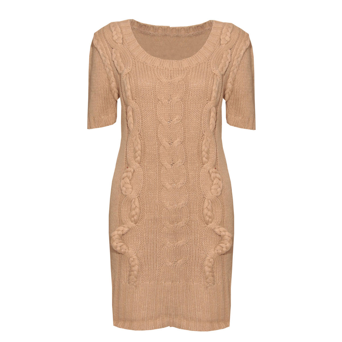 Knitted Jumper Dress In Cream Preview