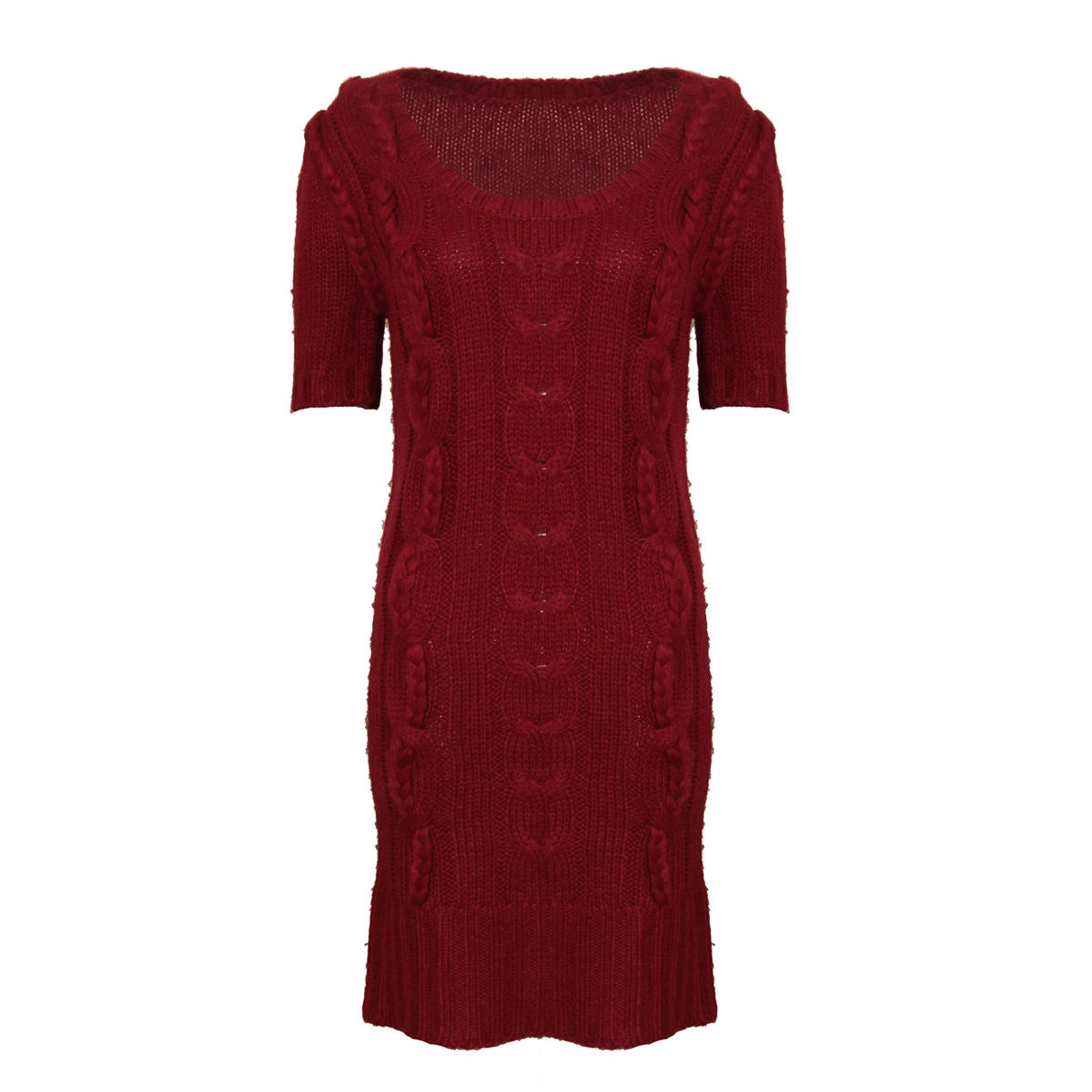 Knitted Jumper Dress In Wine Preview