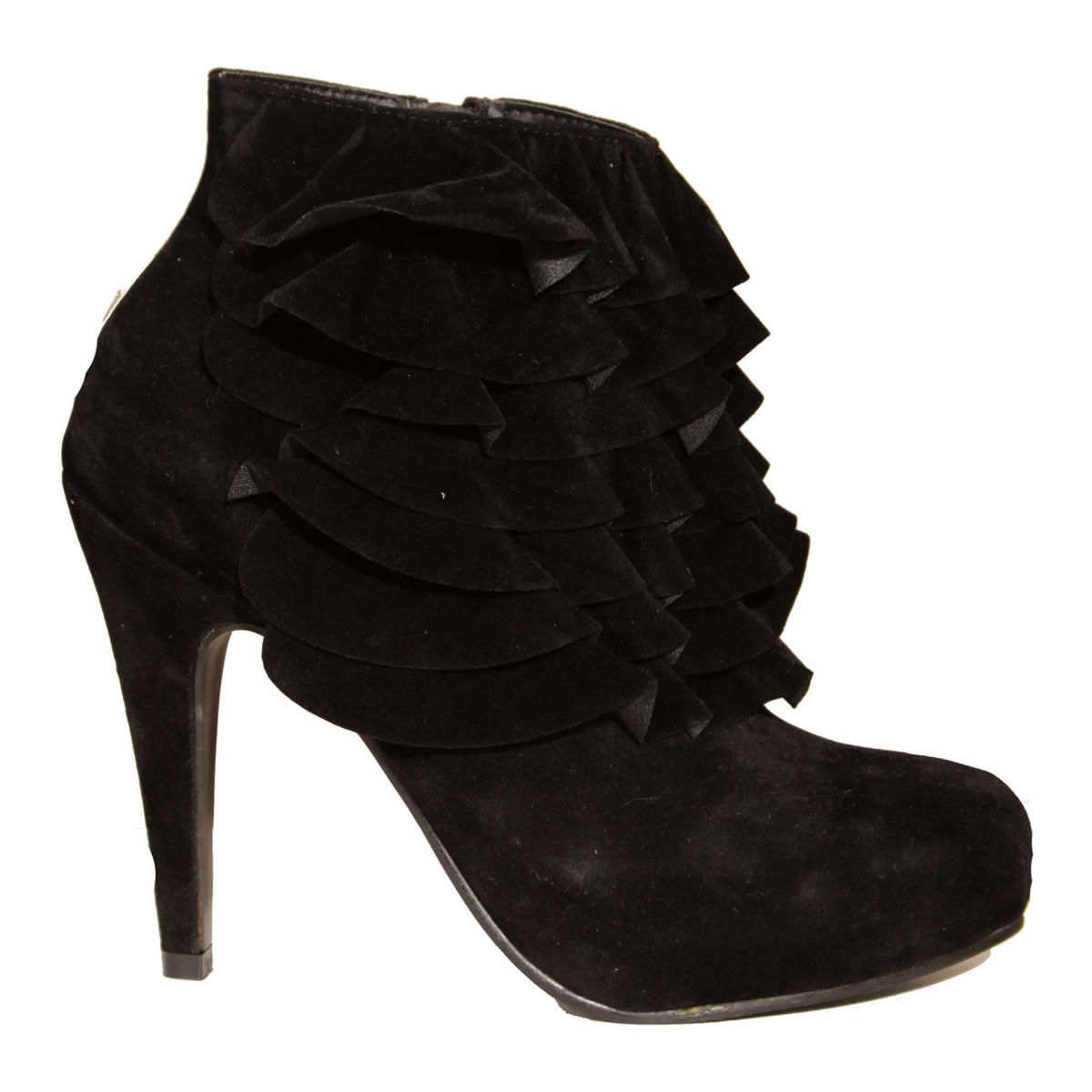 Black Ruffle Ankle Shoe Boot Preview