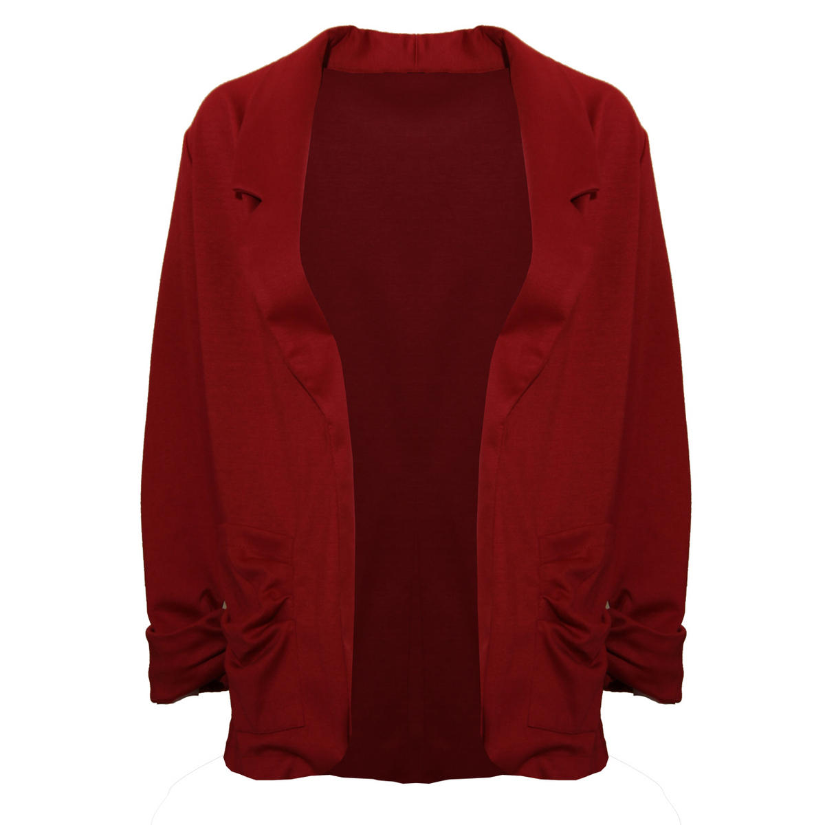 Dark Red Lightweight Ruffle Pocket Blazer Preview