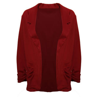 View Item Dark Red Lightweight Ruffle Pocket Blazer