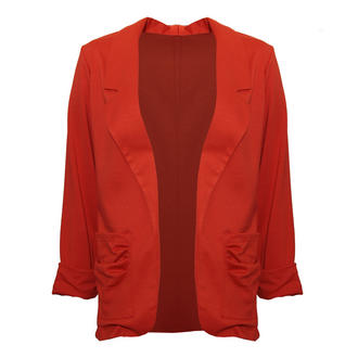 View Item Orange Lightweight Ruffle Pocket Blazer