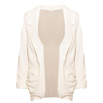 View Item White Lightweight Ruffle Pocket Blazer