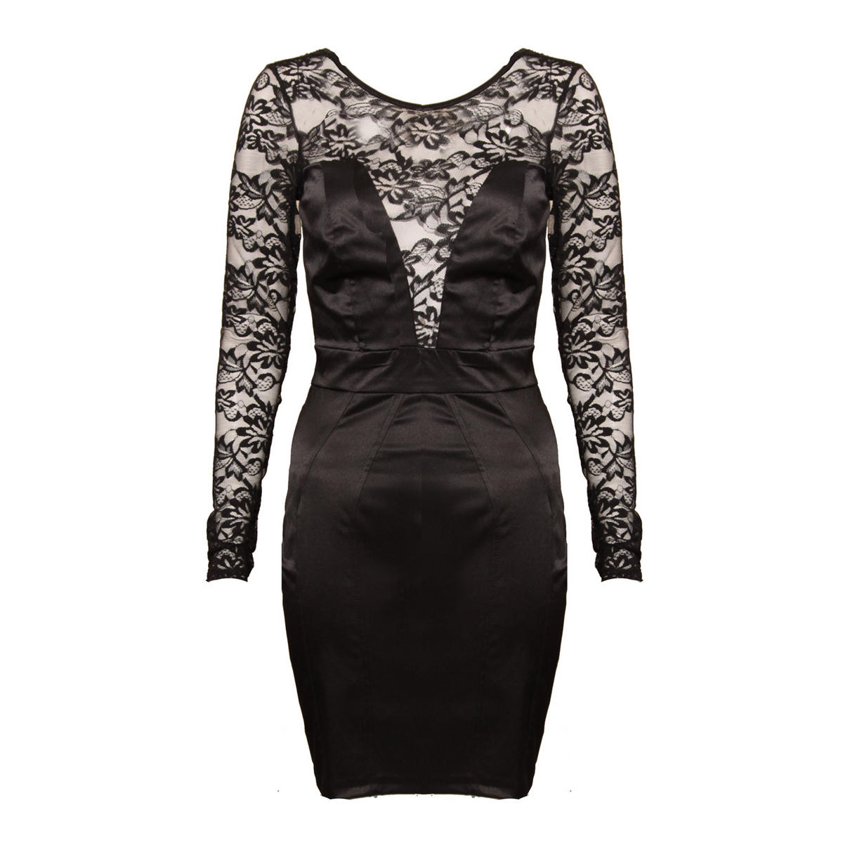 Black Lace Long Sleeve Satin Dress  Preview
