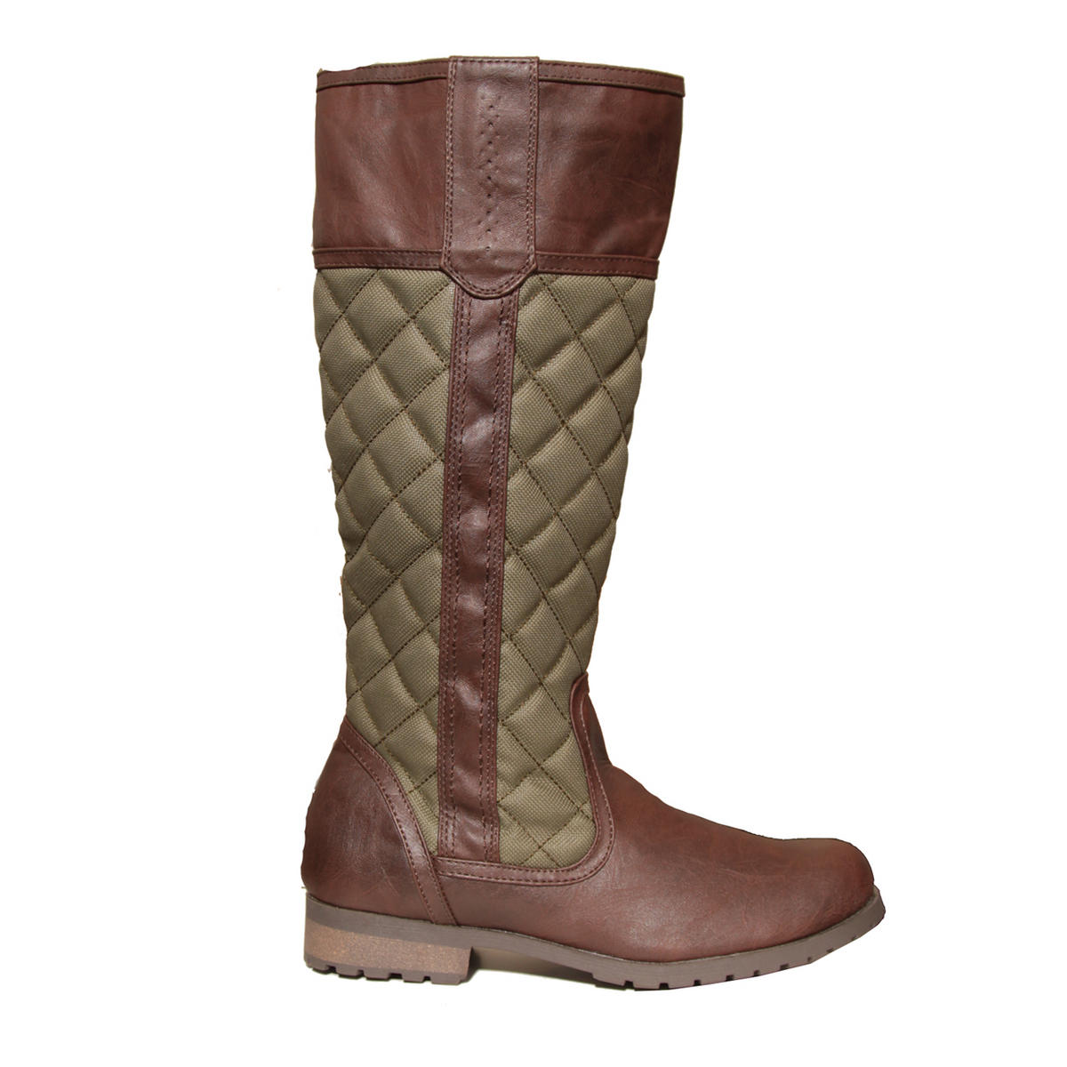 Khaki Green Quilted Knee High Flat Boot Preview