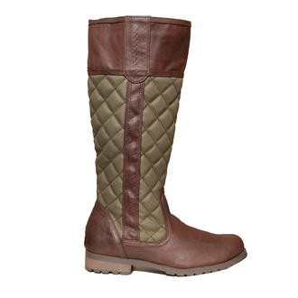 View Item Khaki Green Quilted Knee High Flat Boot