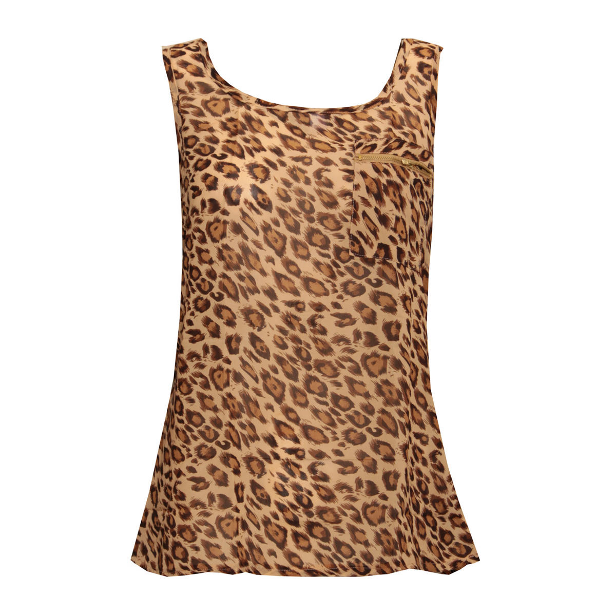 Tan Leopard Print Zip Pocket Vest Preview