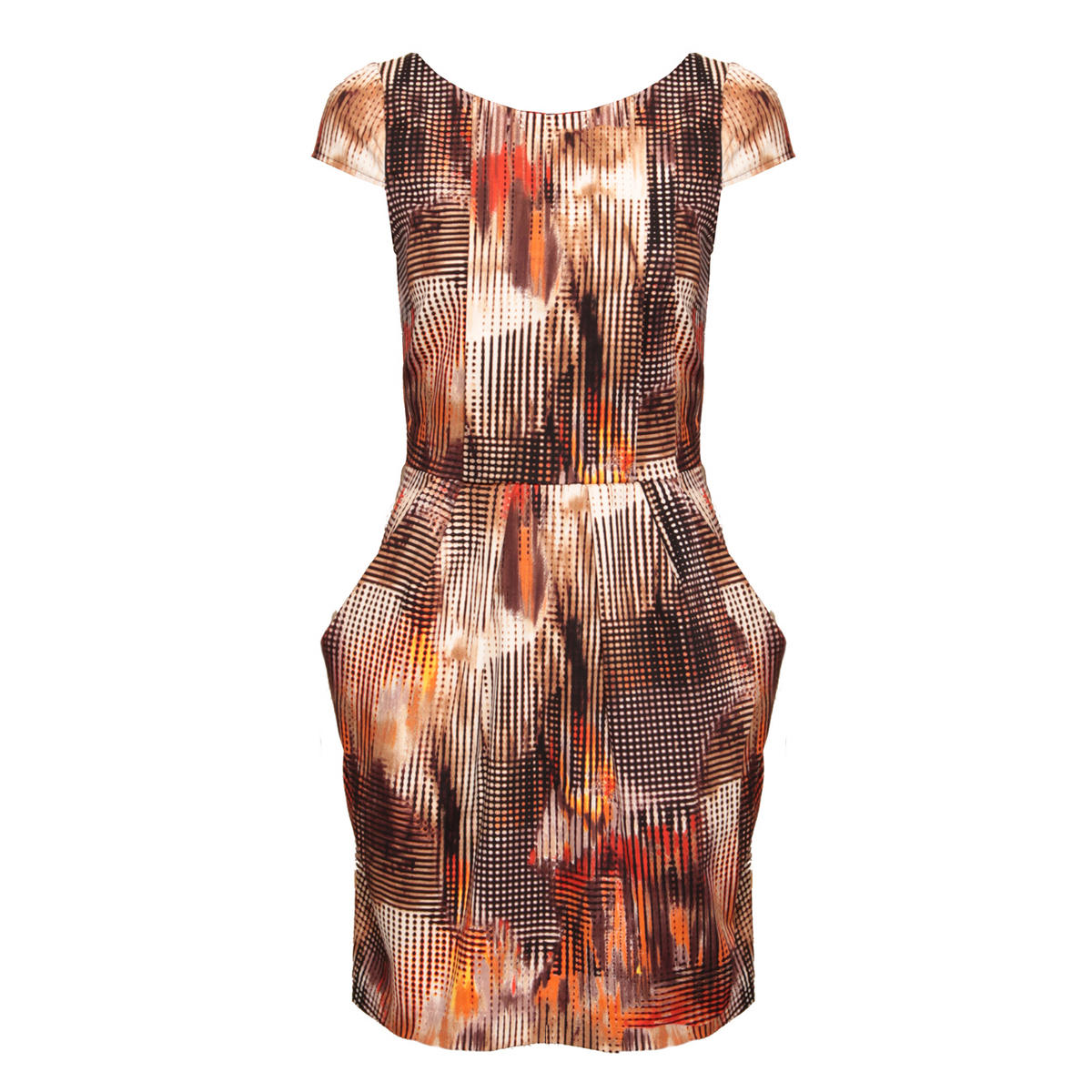 Abstract Print Cap Sleeve Tailored Dress Preview