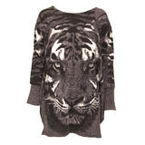 Grey Tiger Print Knitted Jumper