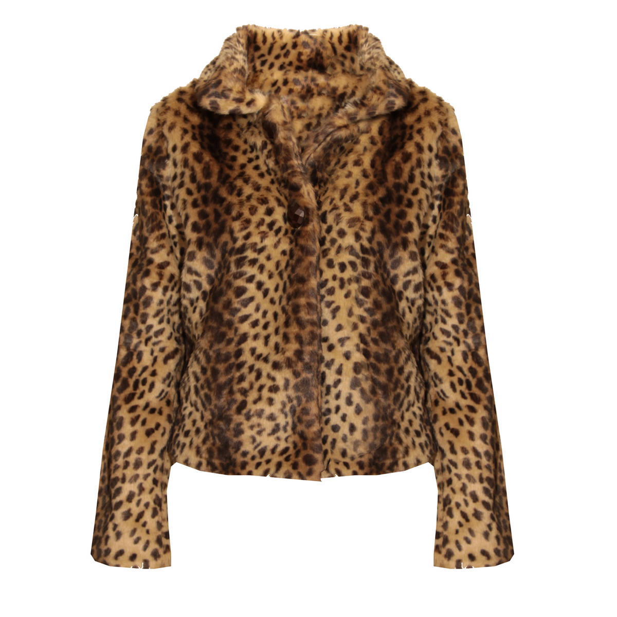 SIZE 14 ONLY Leopard Print Faux Fur Cropped Jacket Preview