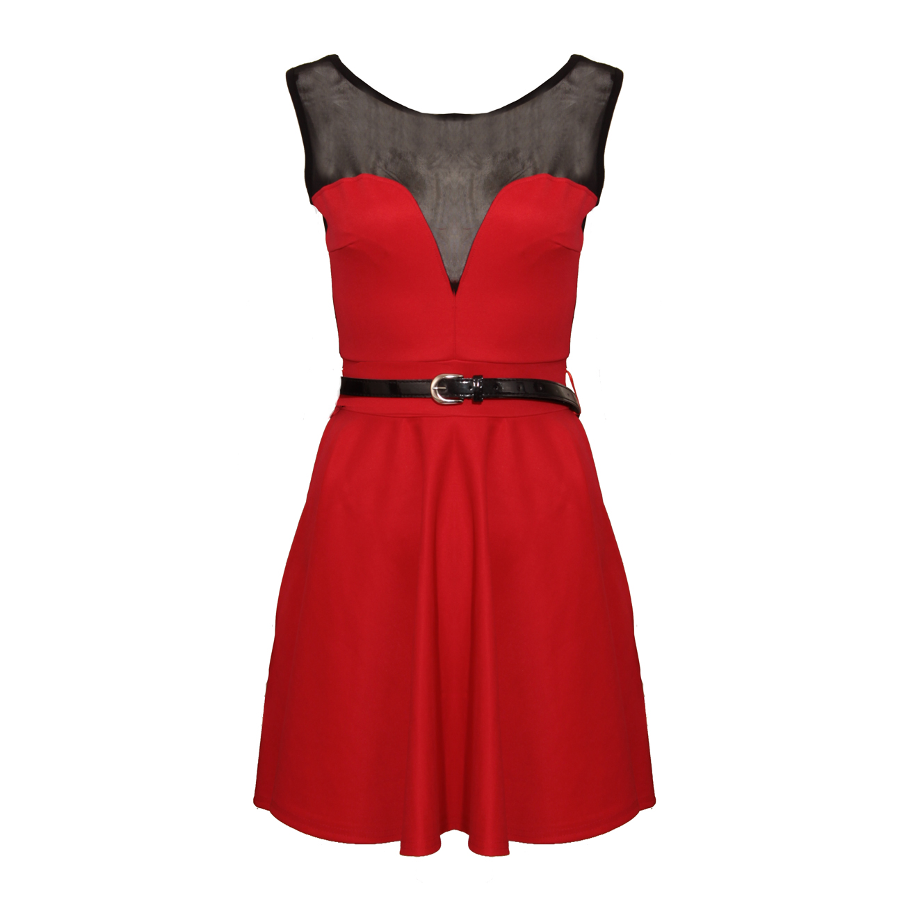 Red Mesh Skater Belter Dress Preview