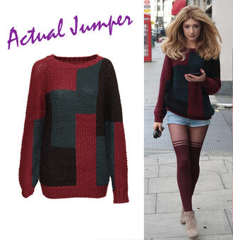 View Item Colour Block Chunky Knit Jumper