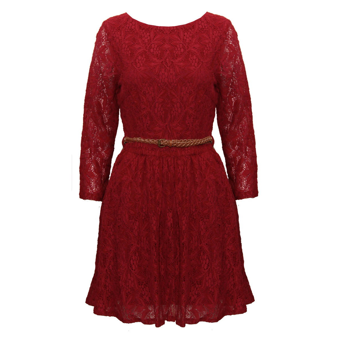 SIZE 6 ONLY Wine Long Sleeve Lace Pleat Dress Preview