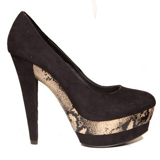 View Item Black Snakeskin Platform Heel