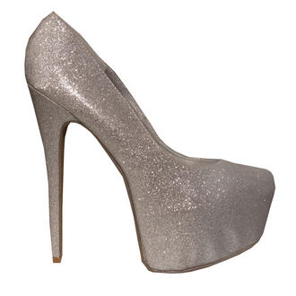 View Item Silver Glitter Platform Heel 