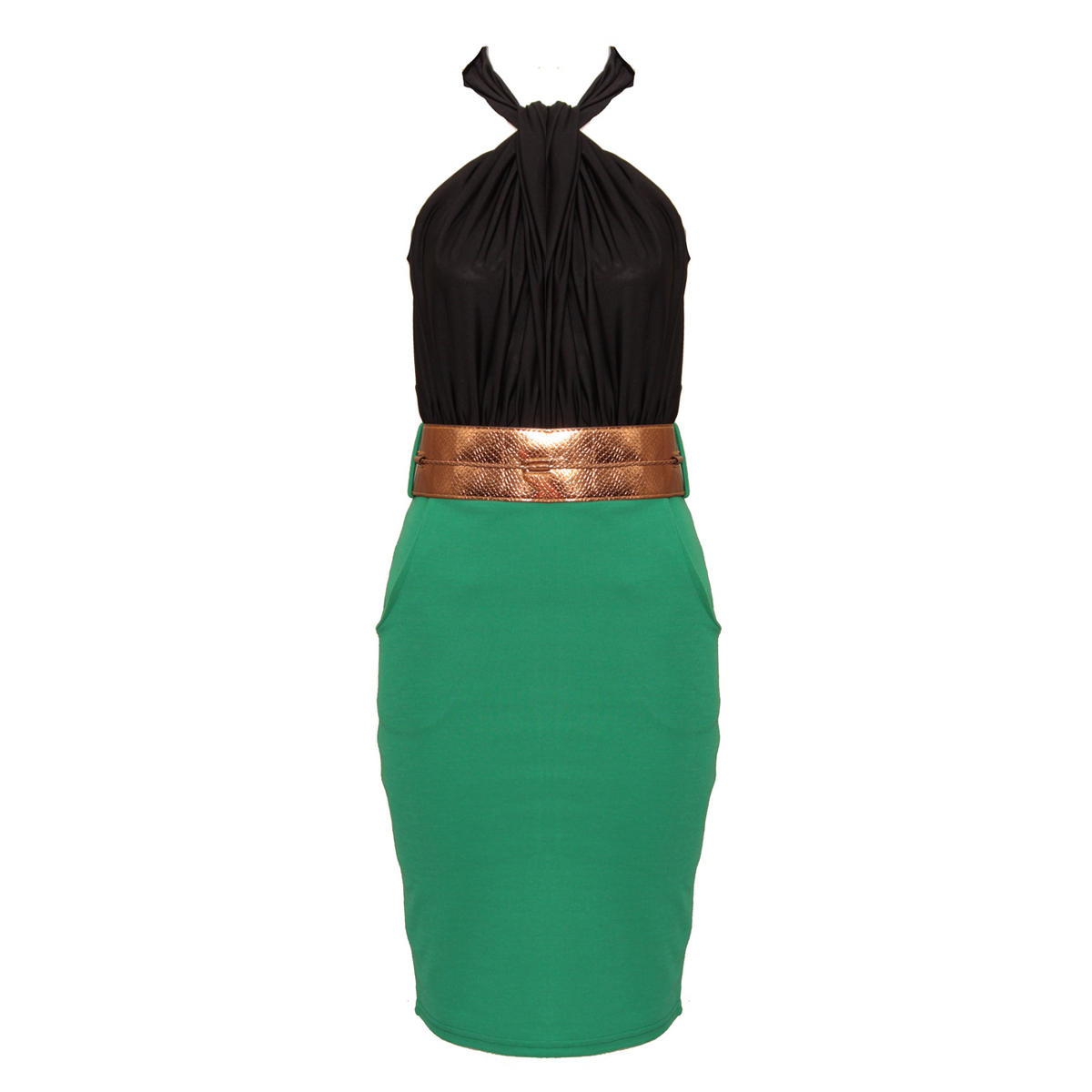 Colour Block Belted Halter Neck Dress Preview