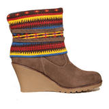 SIZE 3 ONLY Aztec Print Wedge Boot