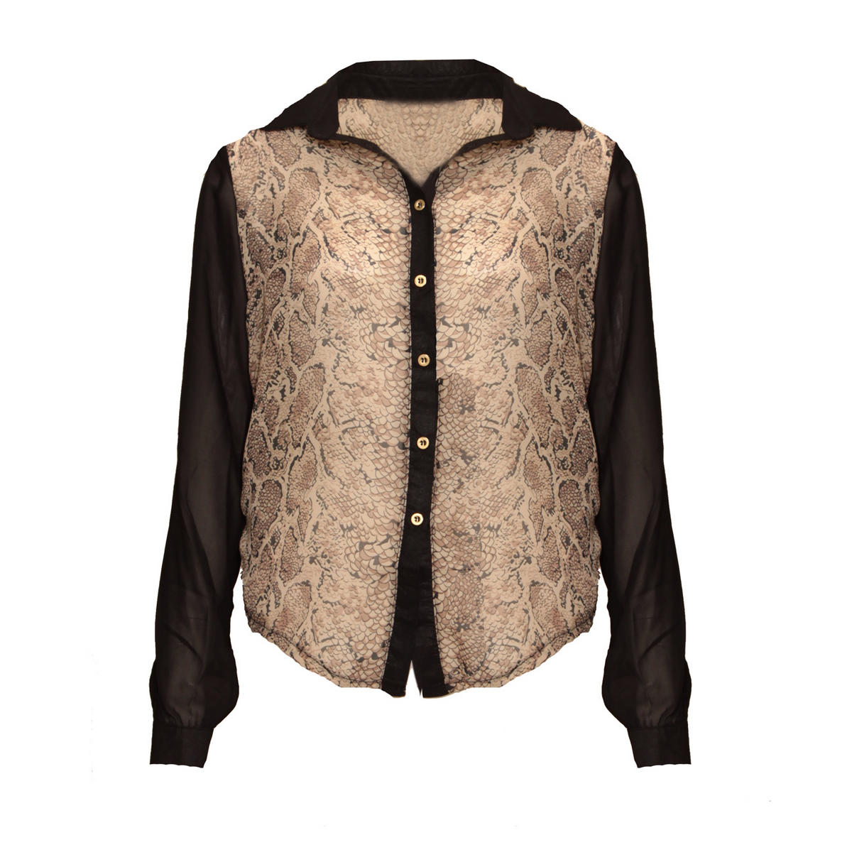 Snakeskin Contrast Sleeve Blouse Preview