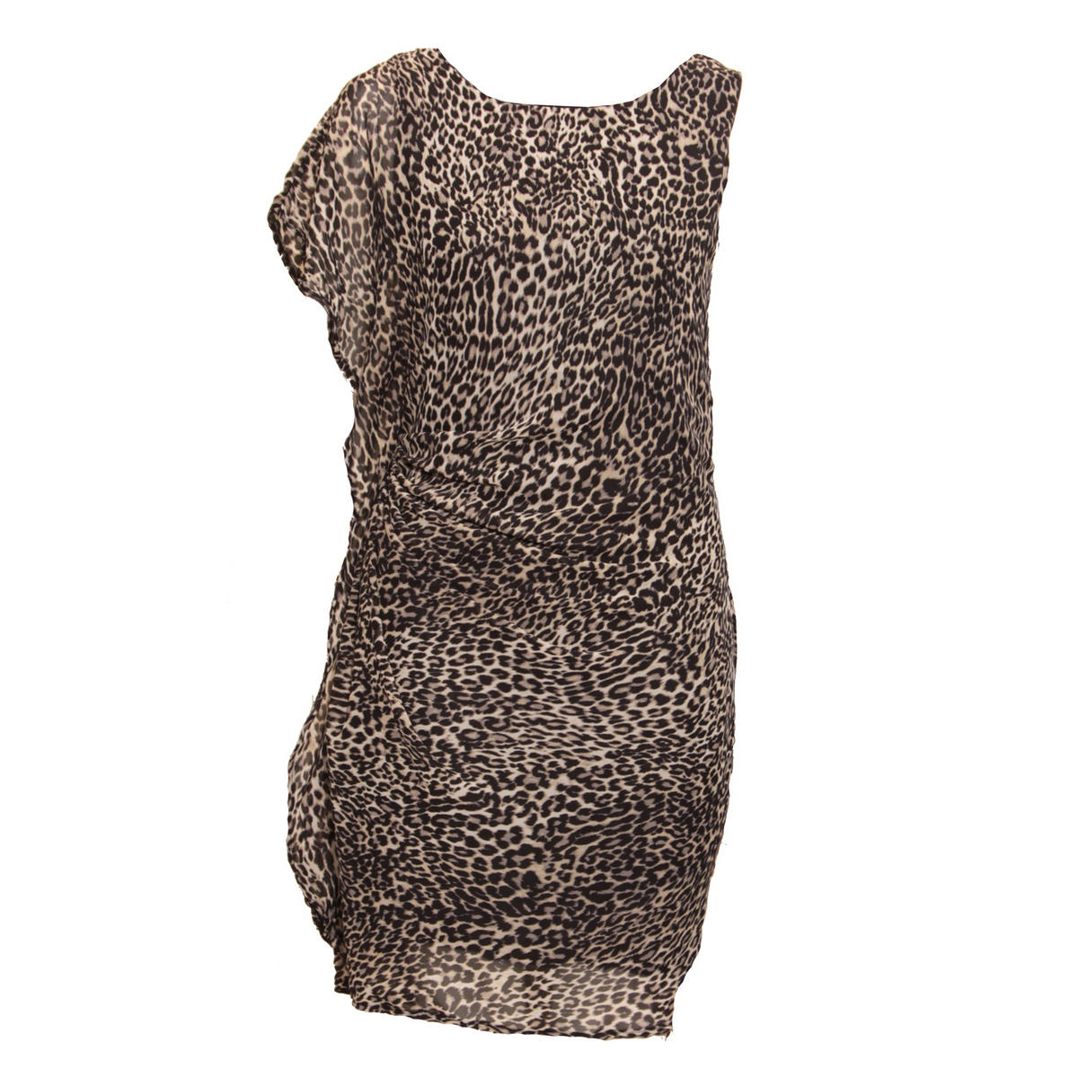 SIZE 12 ONLY Grey Leopard Print Ruffle Pleat Dress Preview