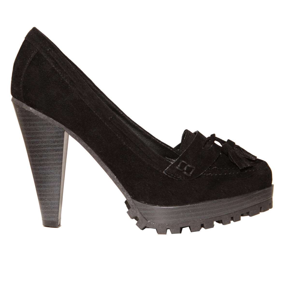 Black Suedette Tassle Loafer Shoe Preview