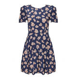 Navy Leopard Heart Print Tea Dress