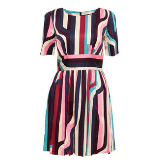 View Item SIZE 14 ONLY Abstract Stripe Pleat Dress