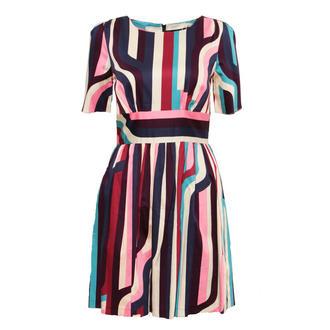 Stripe Multi Abstract Pleat Dress