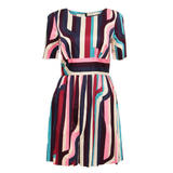 SIZE 14 ONLY Abstract Stripe Pleat Dress