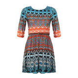 Tribal Print Pleat Dress