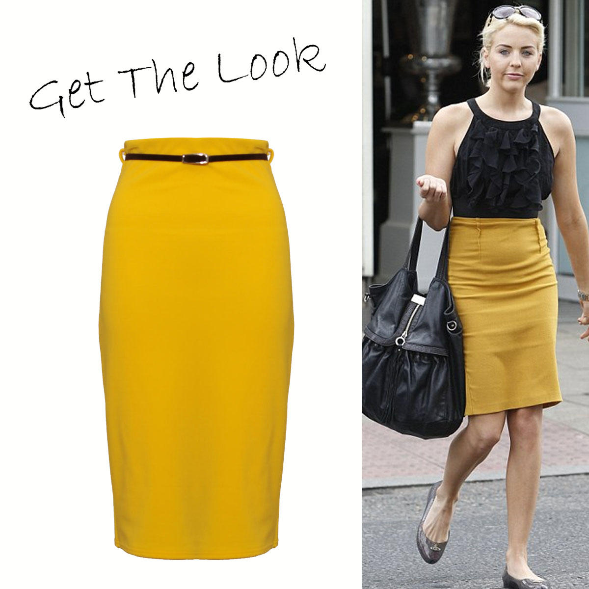 Yellow Midi Pencil Skirt Preview