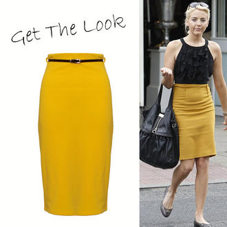 View Item Yellow Midi Pencil Skirt